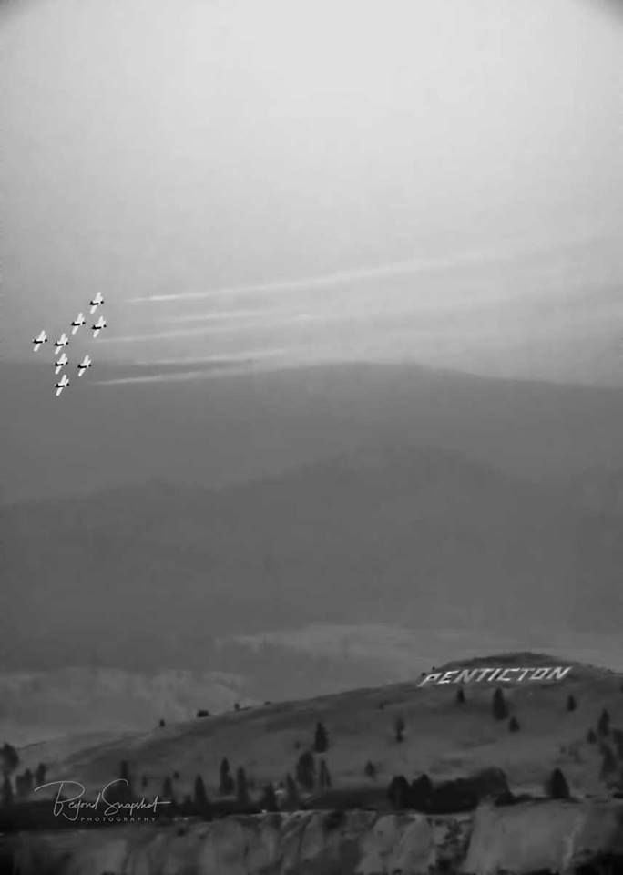 Beyond Snapshot · August 10 2017·   First day of Peachfest, Snowbirds show. It was very hard to see due to smoke in the air but managed to capture this image. Lots of tweaking so the resolution is not the best. Cant wait to see what else is today