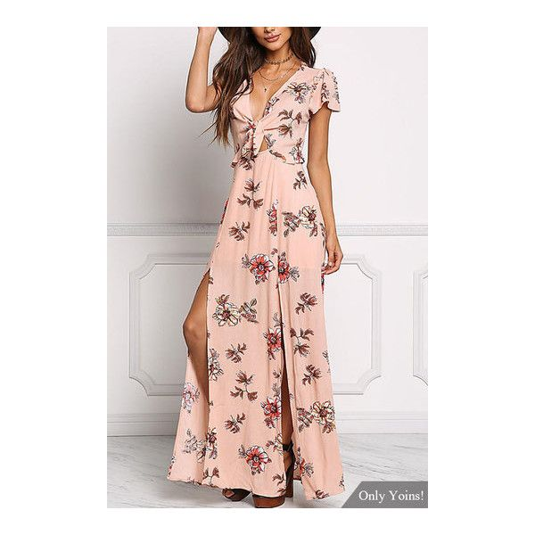 Yoins Peach Floral Crepe Splited Maxi Dress ($33) ❤ liked on Polyvore featuring dresses, white ruffle dress, spaghetti-strap maxi dresses, tie-dye maxi dresses, floral print maxi dress and peach maxi dress