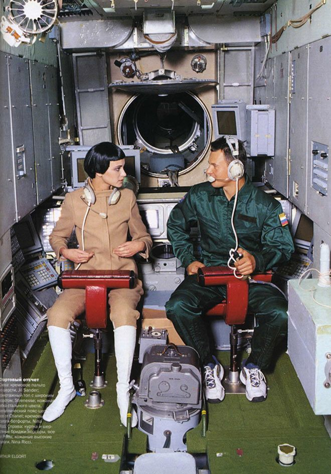 not actually from the Space Race, but from a 1999 photoshoot in Russian Vogue meant to embody the era