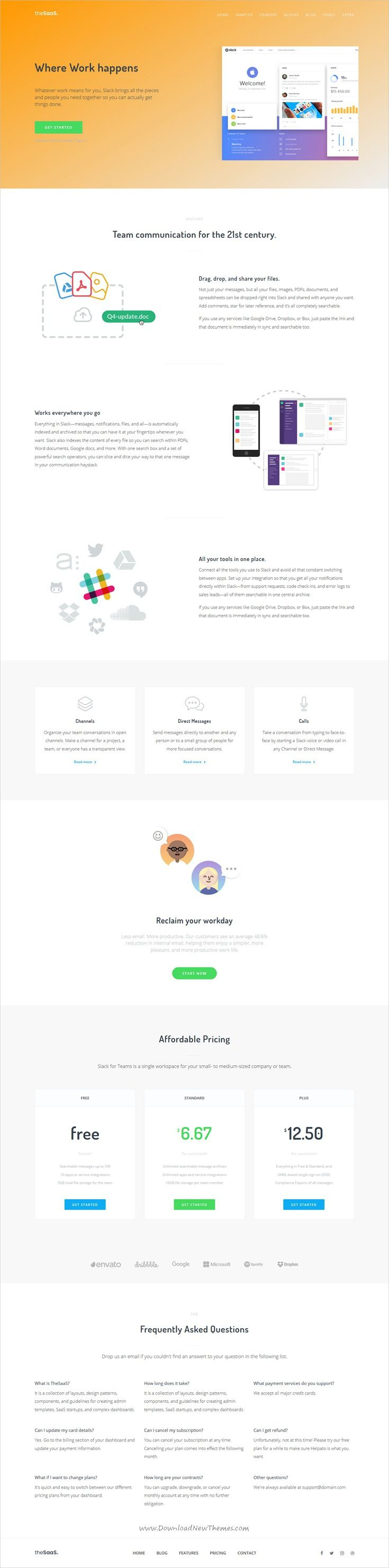 TheSaaS is clean and modern design 9in1 responsive #Drupal theme for creative #slack style SaaS, software and webapp #landingpage website to live preview & download click on Visit 👆