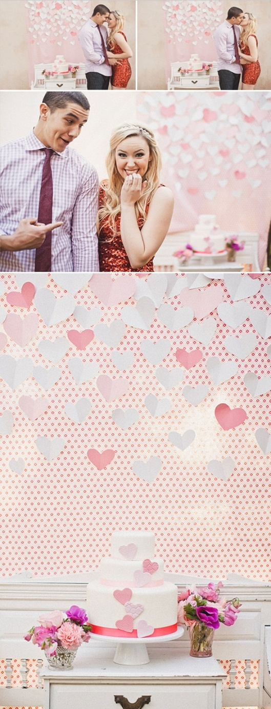 Behind cake- heart, red, pink and ombre engagement party - so beautiful!