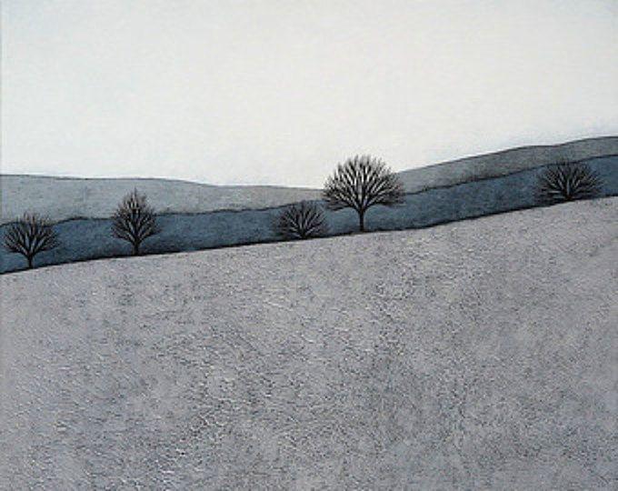 Intermedio 4 - archivo 8 x 8 lámina - paisaje de invierno minimalista contemporáneo pintura - gris, azul, pizarra - Natasha Newton
