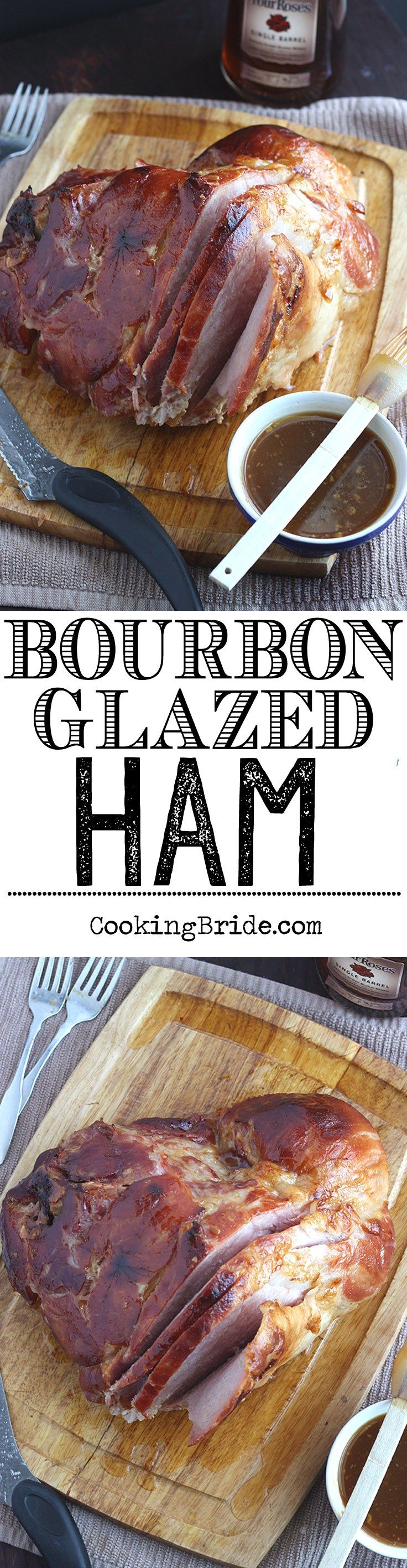 Bourbon glazed baked ham is slathered with a sweet glaze of bourbon, brown sugar, and orange juice. Perfect for the holidays!