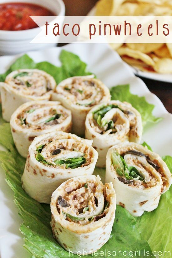 Taco Pinwheels // High Heels and Grills.       4 oz. (1/2 block) cream cheese      3/4 cup seasoned taco meat      1/4 cup finely shredded cheddar cheese      1/4 cup salsa      2 Tbsp. ranch dressing      2 Tbsp. chopped black olives      2 Tbsp. finely chopped onion      5 (8 inch) flour tortillas, room temperature      1/2 cup shredded lettuce