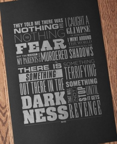 SOMETHING TERRIFYING — Kryptonite Prints and Apparel (poster,typographic)  Wonderful short story told