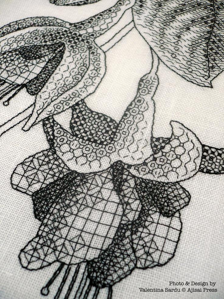 FUCHSIAS IN BLOOM (detail). A #blackwork pattern designed and stitched by  Valentina Sardu for Ajisai Designs