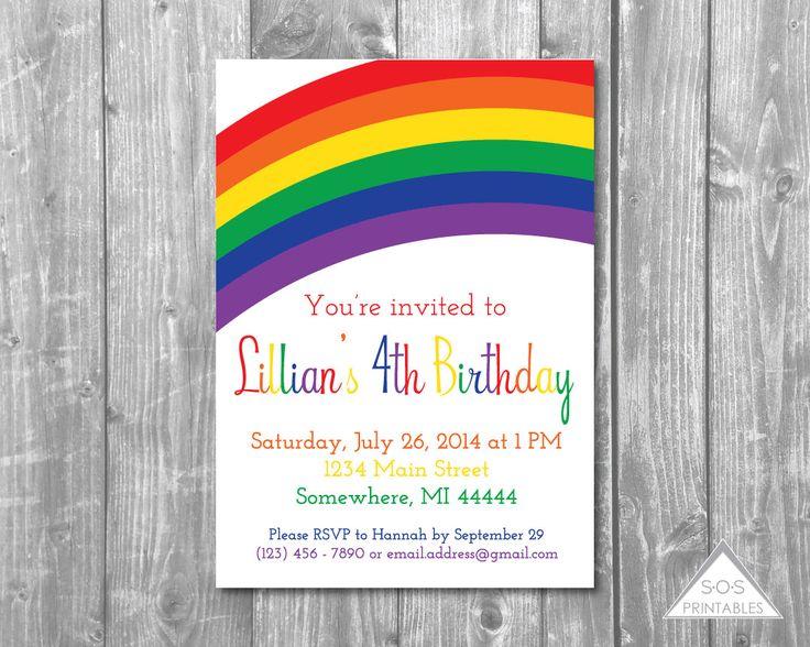 Rainbow Party Invitation, Rainbow Birthday, Rainbow Invitation, Rainbow Invite, Printable Invitation,Birthday Invitation, Printable PDF,JPEG by SOSPrintables on Etsy https://www.etsy.com/listing/222763291/rainbow-party-invitation-rainbow