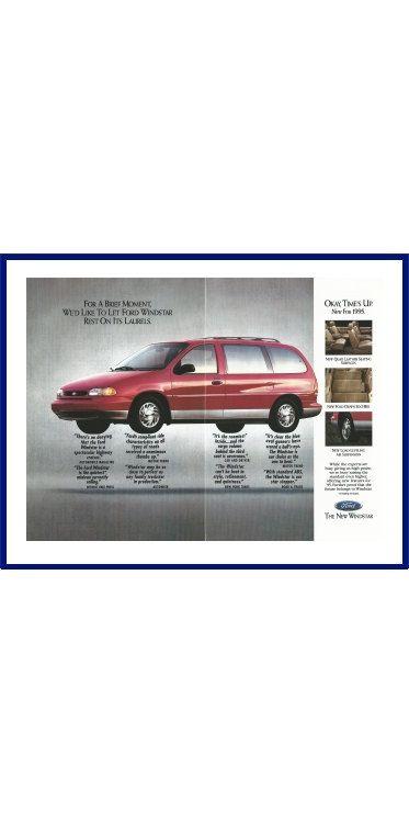 "FORD WINDSTAR MINIVAN Original 1995 Vintage Large Color Print Ad - ""For A Brief Moment, We'd Like To Let Ford Windstar Rest On Its Laurels"" by VintageAdOrama on Etsy"