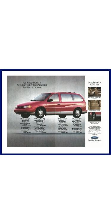 "FORD WINDSTAR MINIVAN Original 1995 Vintage Large Color Print Ad - ""For A Brief Moment, We'd Like To Let Ford Windstar Rest On Its Laurels"" by VintageAdOrama on Etsy"