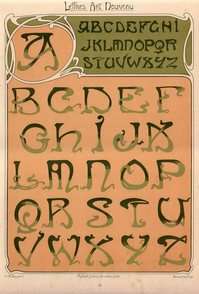 'Lettres et Enseignes Art Nouveau' (1901) by E. Mulier. Source