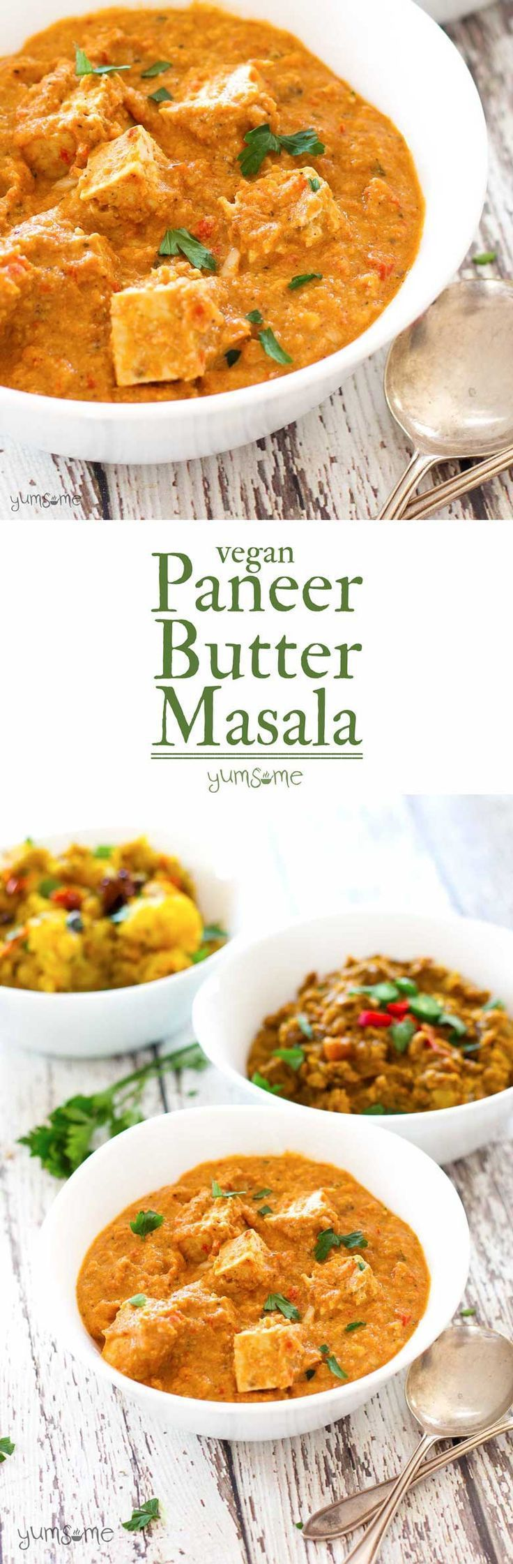 My vegan paneer butter masala is a perfect balance of spiciness and creaminess, and works really well with Indian breads or rice, and starchy curry dishes, such as aloo masala and dal fry.   yumsome.com