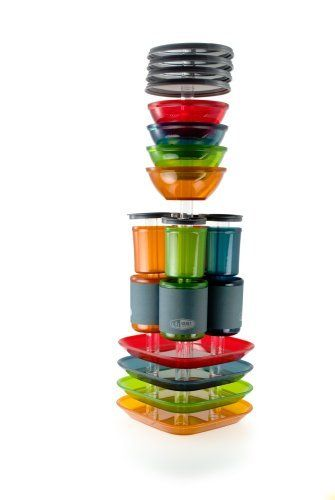 4 color dish set for camping by GSI. Love the cup holders. This would be perfect for a small rv.