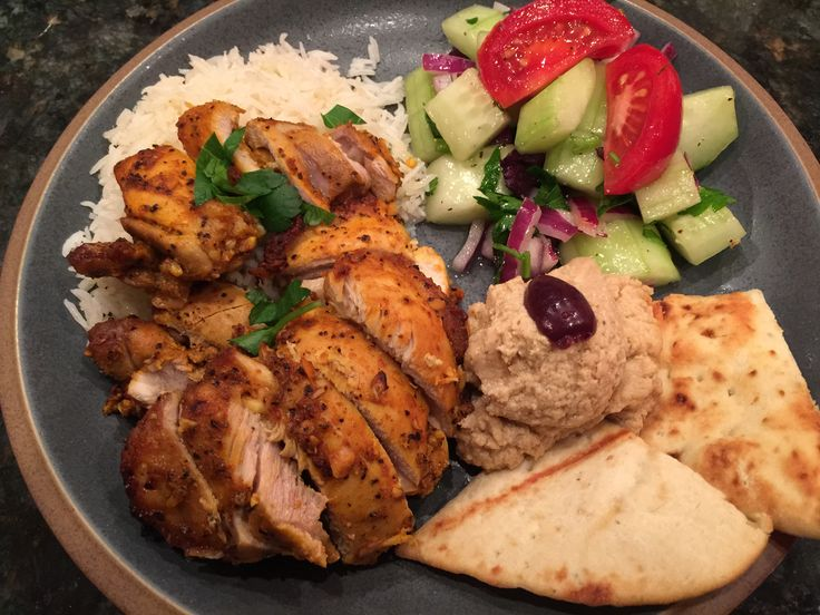 Oven-Roasted Chicken Shawarma: This recipe is so so good and easy to make. The only tweek I made was to place the chicken on a rack on the baking sheet. It browns better. I made homemade hummus (recipe) on my sauce board. http://cooking.nytimes.com/recipes/1017161-oven-roasted-chicken-shawarma?em_pos=large&emc=edit_ck_20150130&nl=cooking&nlid=58267481