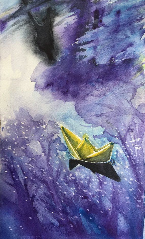 Paper Boat Painting Original Watercolor Paper Boat Gift Painting