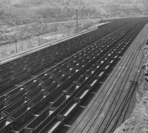 Williamson WV-Some three thousand coal cars, all empty, await termination of the coal strike at Williamson WV, center of one of the nation's richest bituminous coal fields. Loaded, these cars would hold approximately 150,000 tons of coal. Converting U.S. industry used 1,000,000 tons of bituminous coal daily before strike.