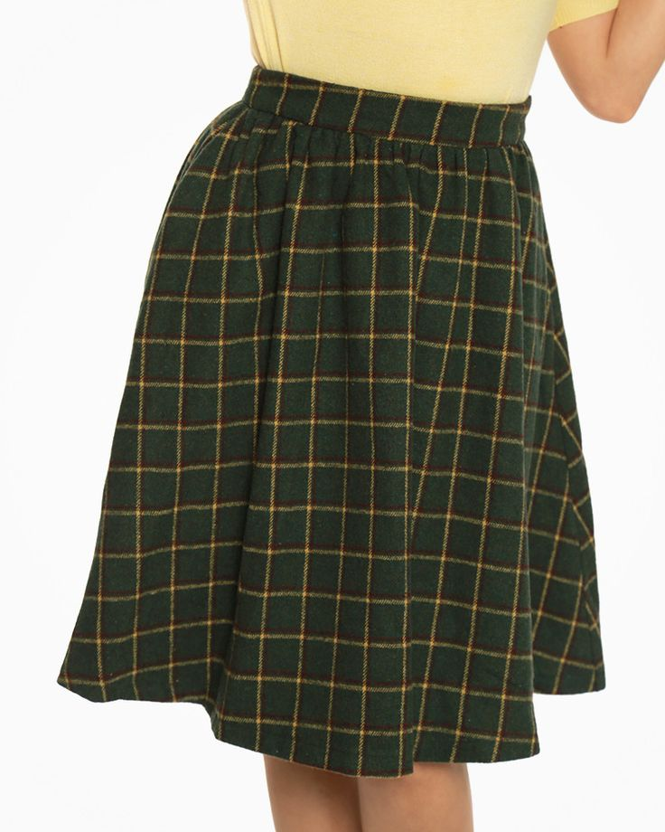 'Pryia' Pine Checked Swing Skirt - Skirts - Bottoms - Clothing