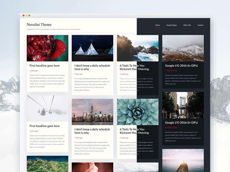 Novelist - grid based lightweight Wordpress theme by Piotr Kmita  #webdesign #design #wordpress #theme #wordpresstheme #uidesign #userinterface #interface #white #light #responsive