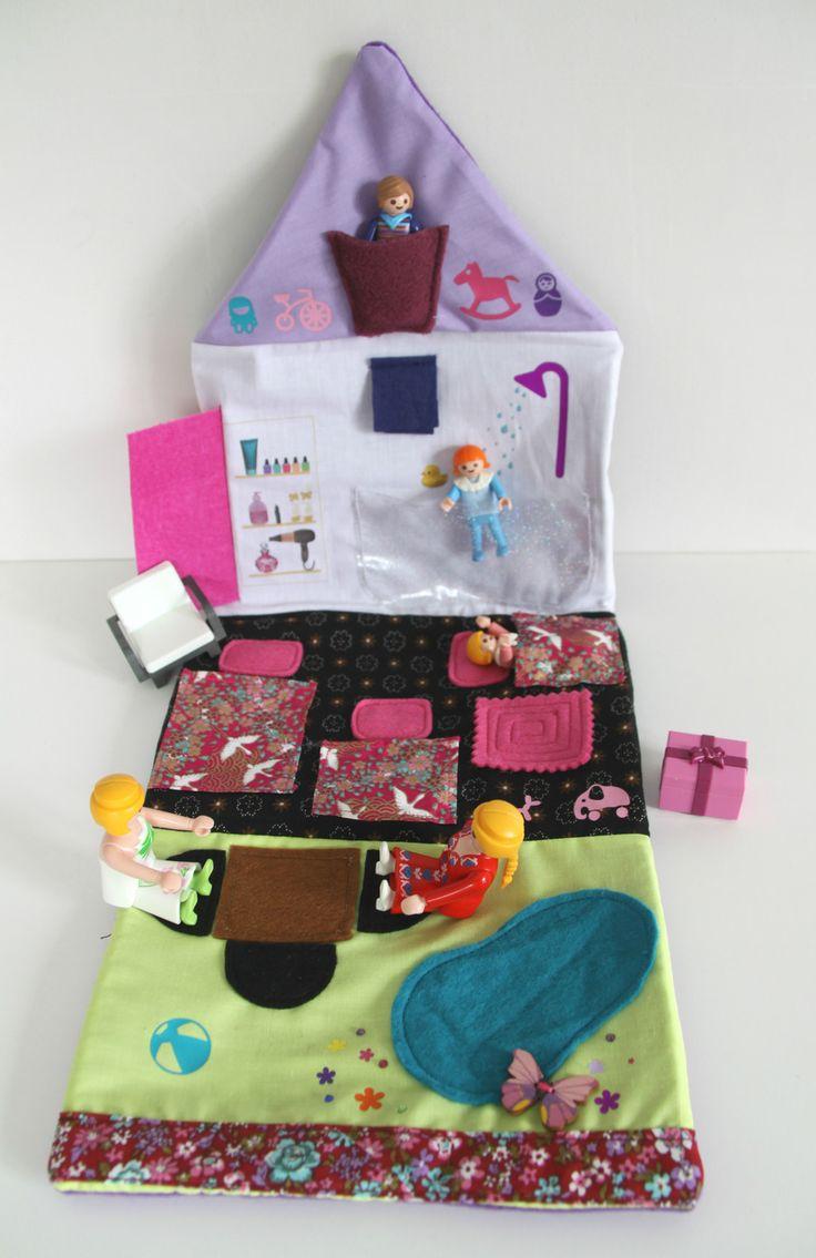 Jeu tapis pour enfant :Maison poupée, princesse ou playmobil nomade et son sac de transport : Jeux, jouets par malolette