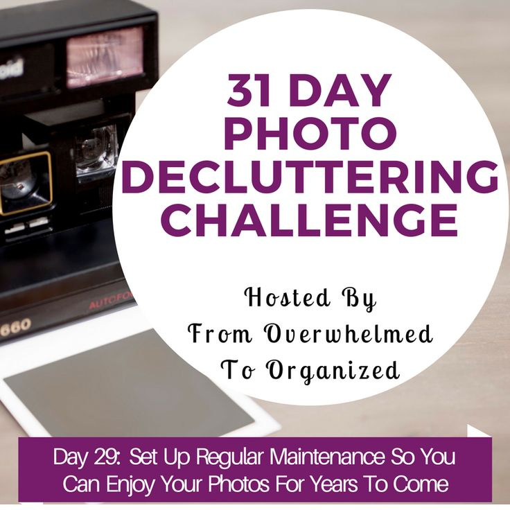 Overwhelmed with photos? Join the 31 Day Photo Decluttering Challenge! Tips for decluttering digital and printed photos in each day's post. Declutter so you can enjoy your special pictures more! Organizing Digital Photos