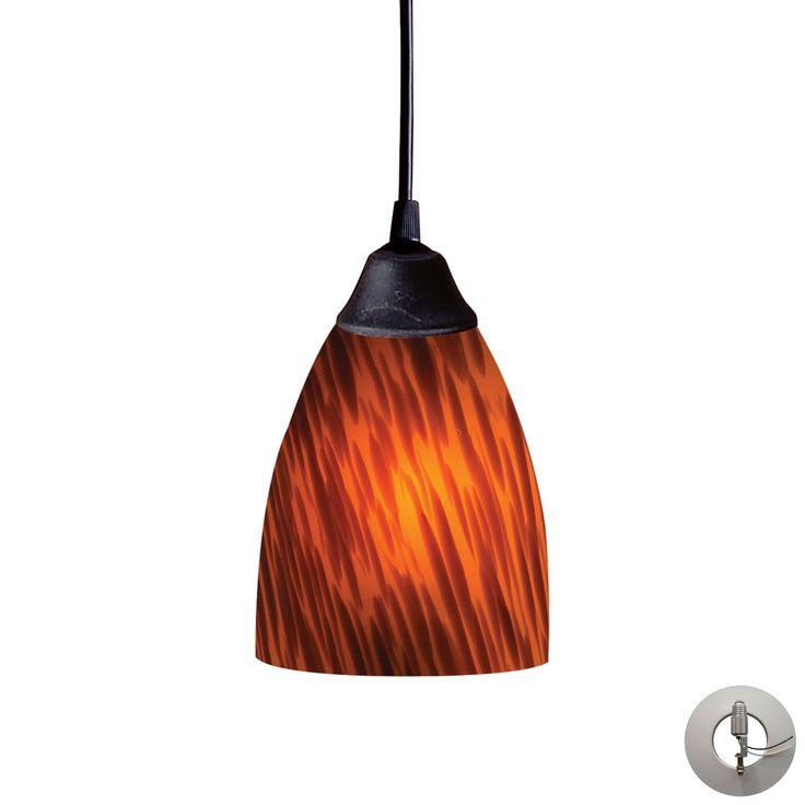 Classico 1 Light Pendant In Dark Rust And Espresso Glass - Includes Recessed Lighting Kit