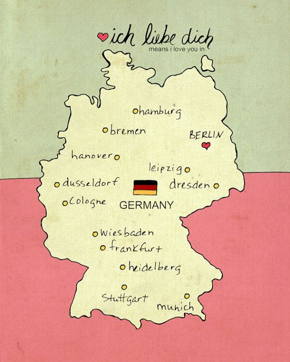 Map Wall Art Children Decor // I Love You in Germany No.7 // Illustration Travel Poster via Etsy
