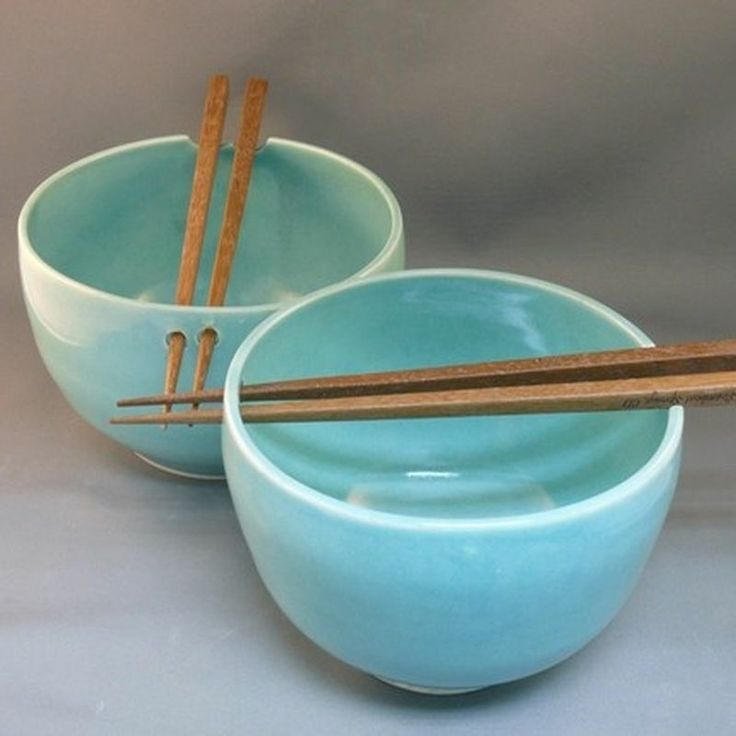 "Set of two robin's egg blue ceramic ""chopstick bowls"""