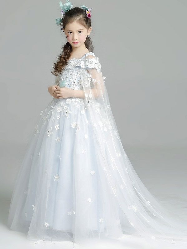 9695149ce3b8 Precious Lace Flowers Applique Long Tail Girls Wedding Party Dress