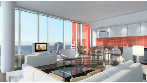 The open concept livingroom in The Rolston by Rize Alliance