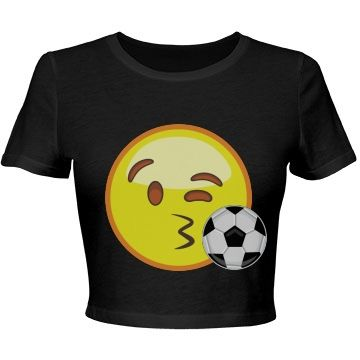 Emojis and crop tops! Better yet, this emoji is blowing a soccer ball kiss! Super cute cropped tee for any girl who plays soccer or has a soccer boyfriend. Get this flirty and fun shirt and show your love for the game.