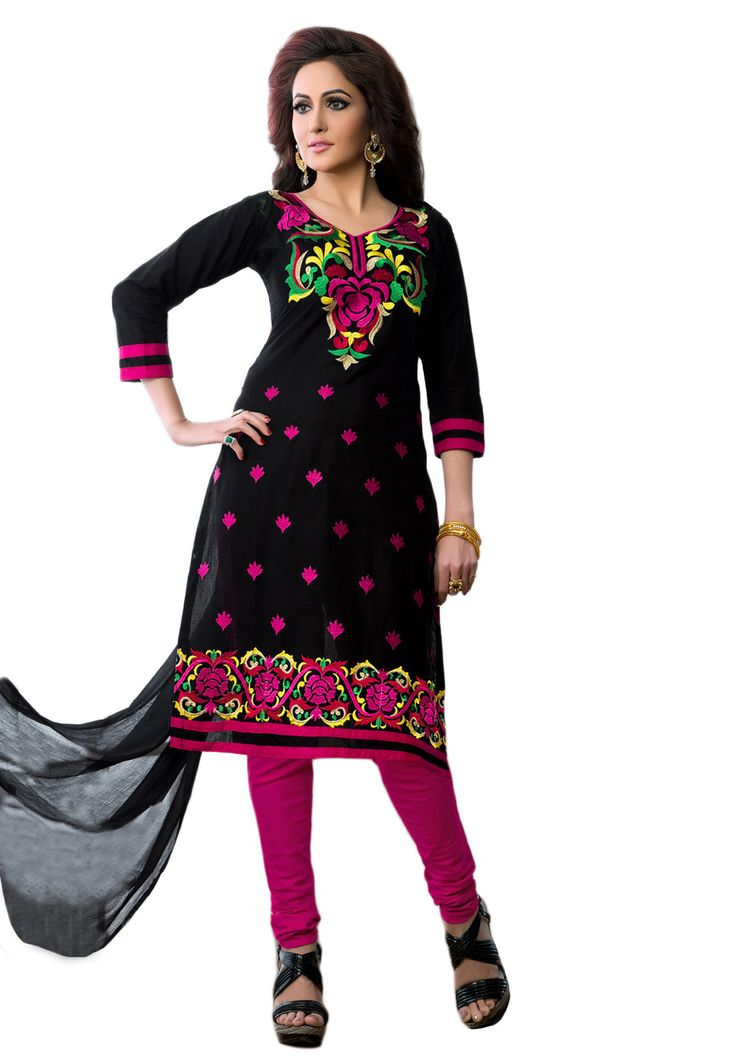 #Black #Dark Pink #Dresmaterail #Casualwear #Officewear #Occasionalwear buy at salwarstudio.com