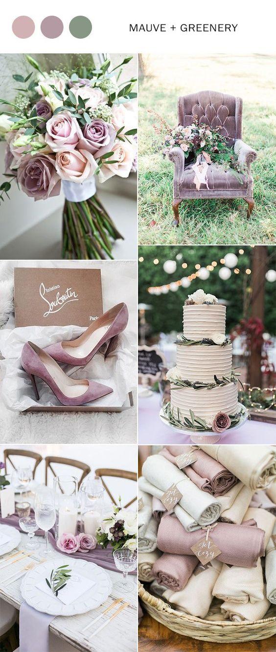 mauve and greenery elegant wedding color ideas for 2018 #weddingcolors #weddingideas #mauvewedding #greenerywedding #weddingtrends