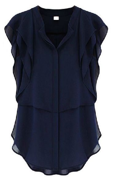 Navy V Neck Ruffles Sleeve Chiffon Blouse @Pascale Lemay Lemay Lemay De Groof