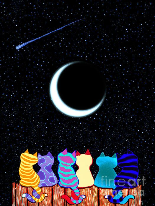 Cats sitting on a fence wishing on a star