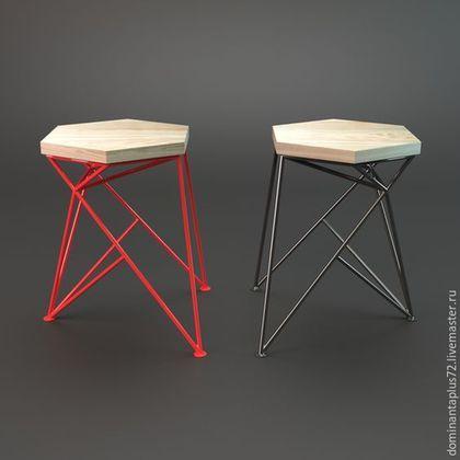 Мебель ручной работы. Ярмарка Мастеров - ручная работа. Купить Табурет. Handmade. Дуб, металл, ярко-красный, Дуб, металл , 5500=