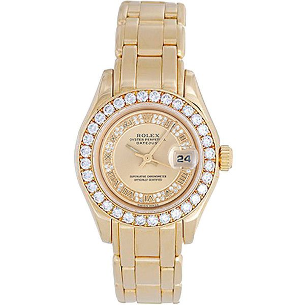Pre-owned Rolex Lady's Yellow Gold Masterpiece/Pearlmaster Automatic... ($21,900) ❤ liked on Polyvore featuring jewelry, watches, accessories, wrist watches, yellow gold bracelet, gold bracelet, pre owned watches, gold wristwatches y 18k watches