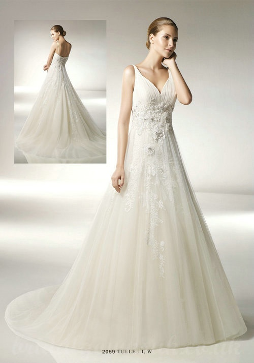 Buy cheap Tulle V Neck Chapel Flower Trimed Corset Clearance Bridal Gowns UK