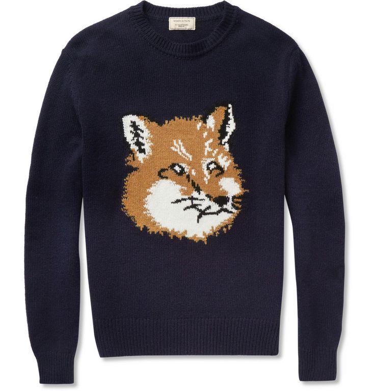 Maison KitsunéFox-Intarsia Lambswool Sweater|MR PORTER