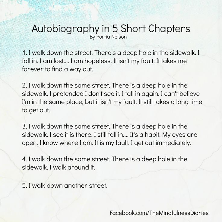 Autobiography in 5 Short Chapters   Quotes to Live By ...
