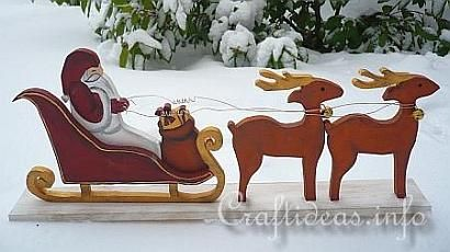 Wood Craft For Christmas Santa Sleigh And Reindeer 2