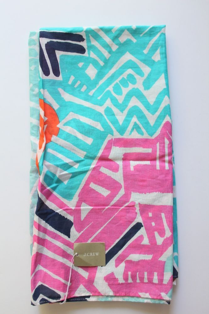 NWT J Crew Women's Infinity Scarf Coral,White,Teal,Pink Pattern $49.50 New Gift #JCREW #Scarf #Any