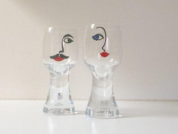 Vintage Sea Kosta Renate Stock man and woman glasses  // Couple wine glasses // Scandinavian modern // Danish modern // Retro wine glasses