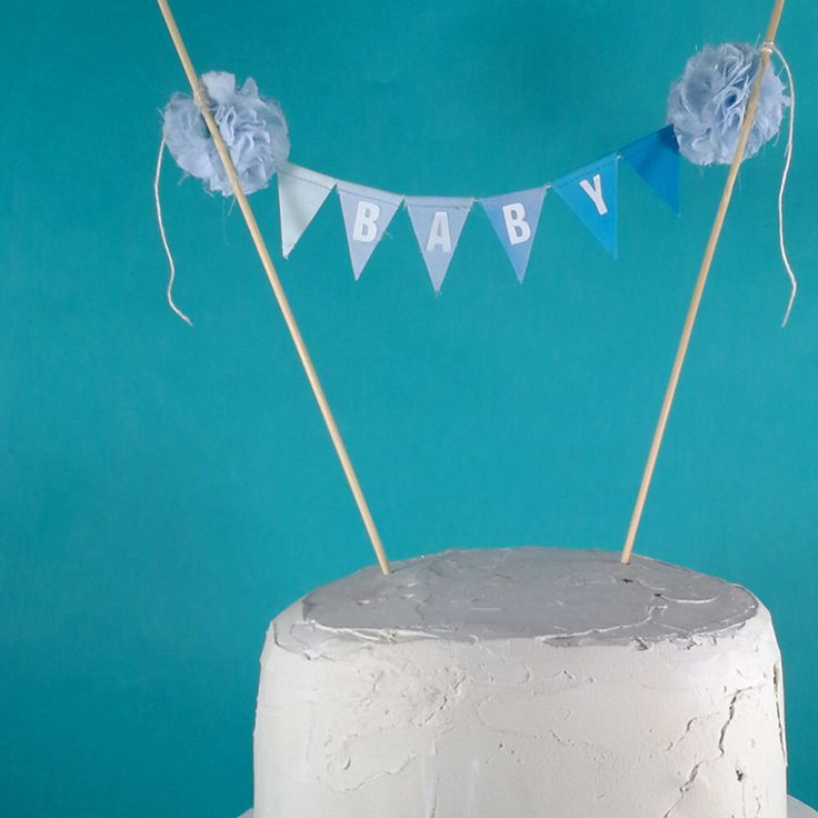 """Baby Shower Cake Banner, Blue ombre baby, """"Baby"""" G216 - baby bunting cake topper by Hartranftdesign on Etsy https://www.etsy.com/listing/241241251/baby-shower-cake-banner-blue-ombre-baby"""