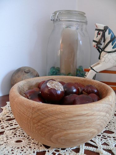 Who knew! Horse chestnuts (conkers) set in bowls around the house is a natural way to get rid of spiders in the house. Apparently, spiders hate the whatever it is that conkers give off. I'm definitely going to try this one! I HATE spiders!