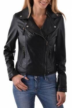 Blouson femme OAKWOOD cuir noir 180€