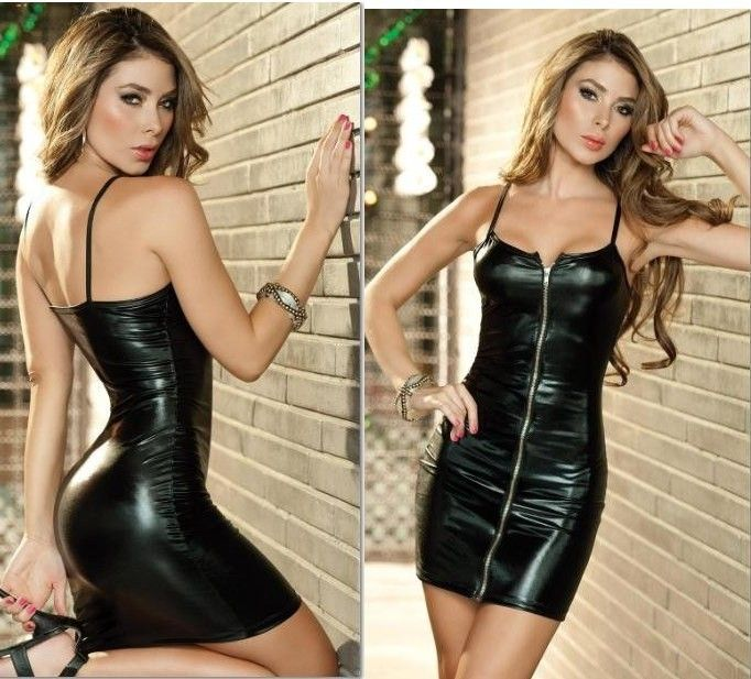 Sexy Lingerie Corset New Black&Zip PVC Dress,G String Lingerie Corset One Size Set Sleepwear Uniform Free shipping W037 $8.99