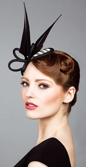 Rachel Trevor Morgan, S/S 2014. Stripe straw headpiece with arrows feathers. #passion4hats