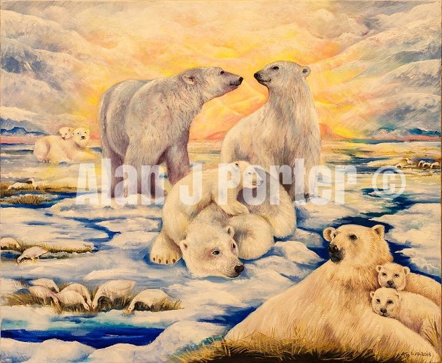 #alanjporterart #kompas #art #animals #polarbears #paintings #snow #sky #sun #oil #beautifulcolors #brood #love
