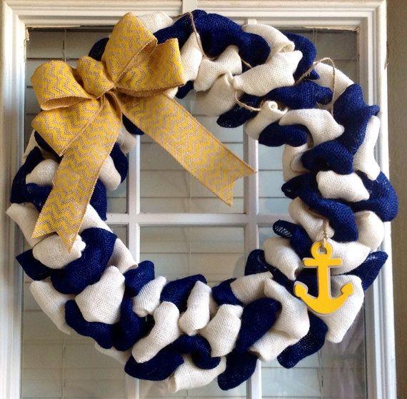Burlap wreath - Door Wreath - Nautical Decor - Anchor Wreath - Summer Wreath - Chevron Wreath on Etsy, $50.00