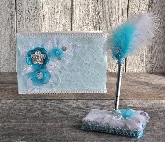 Livre d'or mariage dentelle fleurs turquoise porte plume