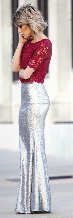 Sea Spray Matte Silver Sequin Maxi Skirt